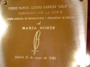 Placa del I premio Lolo de Periodismo Joven