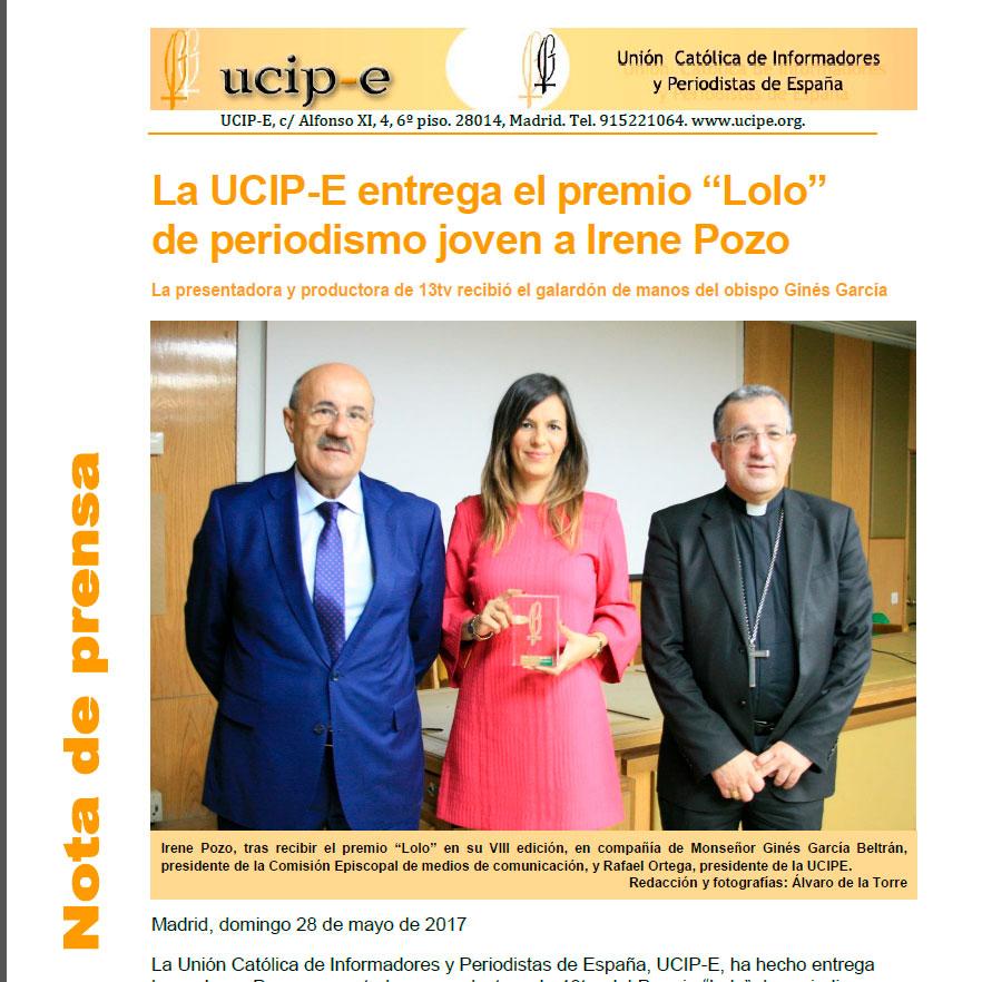 Nota de prensa de UCIPE: Entrega del VIII premio Lolo de Periodismo Joven a Irene Pozo Hernández