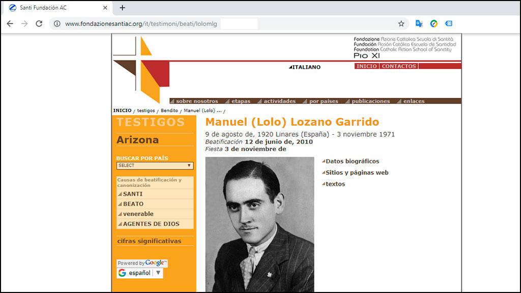 pantallazo de la página de Lolo en el web de la fundación