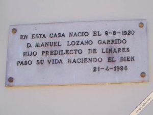 Placa Manuel Lozano Garrido hijo predilecto de Linares