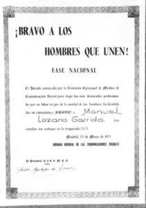 Premio Bravo a la Concordia concedido a Manuel Lozano Garrido